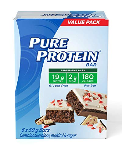 Pure Protein Bars, Gluten Free, Snack Bar, Peppermint Bark, 50 gram, 6 Count