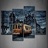 Gelb Zug und Old Building Art Wand die Bild Kunstdruck auf