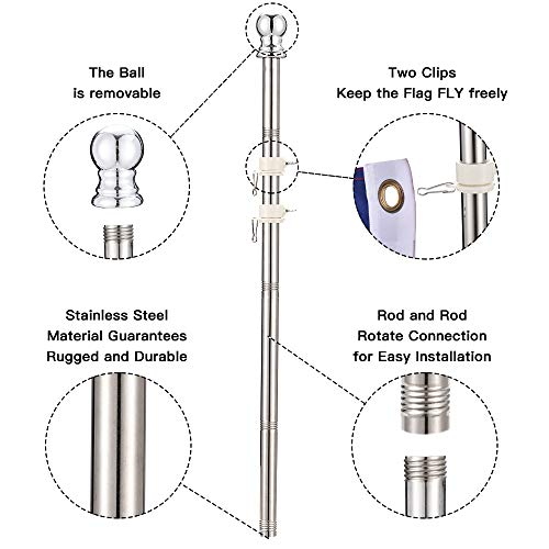 PHITRIC 6 FT Flag Pole Kit, Tangle Free Spinning Weather Resistant Rustproof Stainless Steel FlagpoleSuitable for 3x5 Heavy Garden Flag 1
