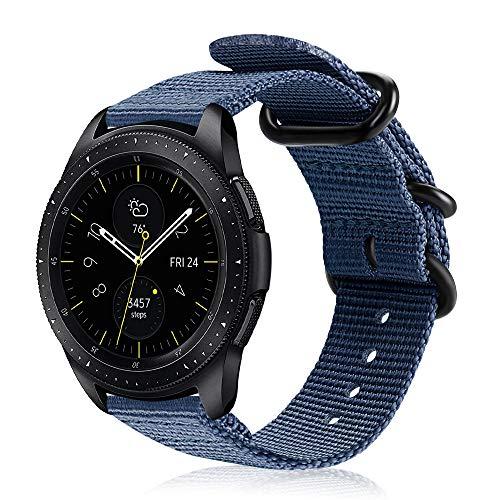 FINTIE Cinturino Compatible con Galaxy Watch 42mm / Galaxy Watch Active/Gear Sport/Gear S2 Classic, 20mm Morbido Nylon Sport Regolabile Wrist Bands con Fibbia Metallica, Blu Scuro