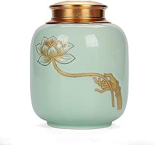 Pot à thé en céramique Pot de stockage de thé, design rétro et fleur de lotus, grande boîte de rangement pour organisation...