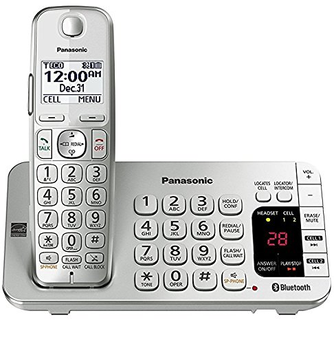 Panasonic KX-TGE470S Link2Cell Bluetooth Enabled Phone with Answering Machine Silver/White (Renewed) (base unit for KX-TGE474S & KX-TGE475S)