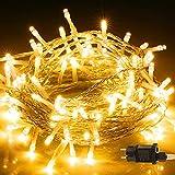Bighouse Cadena de luces LED, 100 ledes, 10 m, con enchufe, color blanco cálido, resistente al agua IP44, para árbol de Navidad, fiesta, boda, terraza, interior y exterior