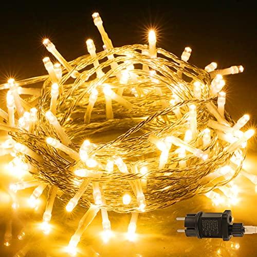 Lichterkette Außen, BIGHOUSE 100 LEDs 10M Lichterkette Strom Warmweiß, Wasserdichte IP44 für Balkon, Garten, Schlafzimmer, Hochzeit, Terrasse, Innen, Aussen Dekoration