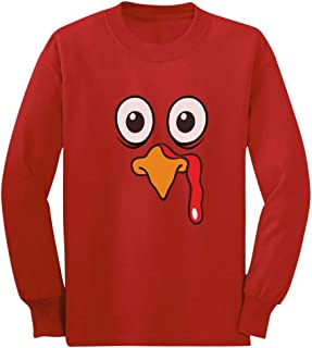 Turkey Face Cute Little Turkey Funny Thanksgiving Long Sleeve Kids T-Shirt
