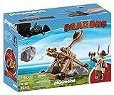 Cómo entrenar a tu dragón-Gobber con Catapulta Playset de figuras de juguete, color marrón, 24,8 x 9,2 x 18,7 cm Playmobil 9245 , color/modelo surtido