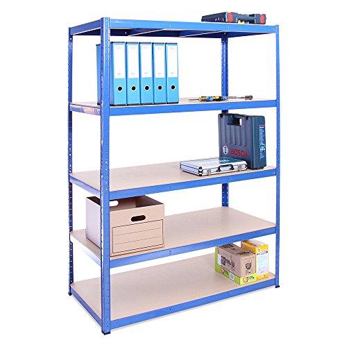 Scaffale per Garage – Scaffalatura – 180cm x 120cm x 60cm – Blu – 5 Ripiani (175Kg a ripiano) – Capacità di carico 875Kg – 5 Anni di Garanzia