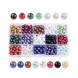 Wohlstand 510 Pcs Perlas para manualidades perlas para coser plástico perlas decorativas Cristal Cera Perlas 15 Colores para coser plástico perlas decorativas para rellenos de jarrones,collares de