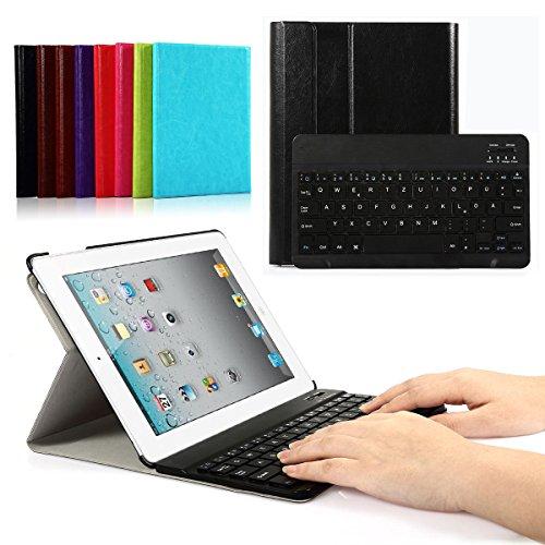 Bluetooth Tastatur Hülle für iPad 4/iPad 3/iPad 2 Schutzhülle Keyboard Case mit Magnetischer Abnehmbarer Drahtloser Deutscher Tastatur (Schwarz Hülle+Schwarze Tastatur)