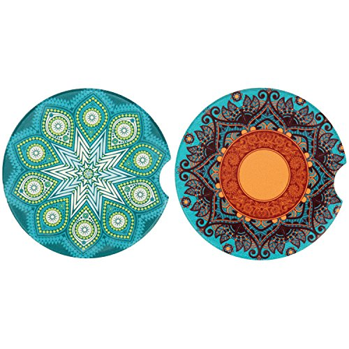 Car Coasters for Cup Holders Absorbent 2 Pack,Small 2.56' Ceramic Coasters for Car with A Finger...