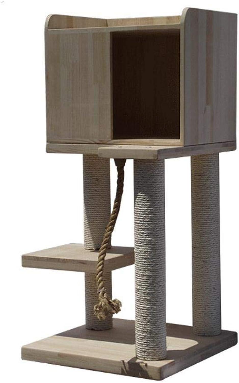 Hexiansheng Cat Climb Trees Solid wood pet cat furniture medium cat's Nest hemp thick prop 55  50  106cm