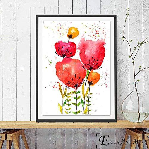Puzzle 1000 Piezas Flores de Amapola Arte de Moda Imagen de Arte Vintage en Juguetes y Juegos Gran Ocio vacacional, Juegos interactivos familiares50x75cm(20x30inch)
