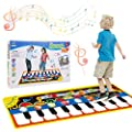Vimpro Musical Piano Mat, Toddler Piano Keyboard Floor Playmat Childrens Kids Musical Mats Kids Tunes Playmat Walking Music Toys for Baby Girls 43.3'' X14.2'' by Estela_Store