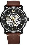 Stuhrling Original Skelett-Uhren für Herren – Herren-Automatikuhr mit Selbstaufzug – Herren-Leder-Armbanduhr für Herren dunkelbraun