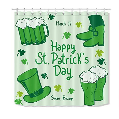 ZZZdz Lucky Grass, groene laarzen, groene hoed bier. Douchegordijn. 180 x 180 cm. 12 vrije haken. Woondecoratie. 3D Hd Afdrukken. Eenvoudig te reinigen. Accessoires voor de badkamer.