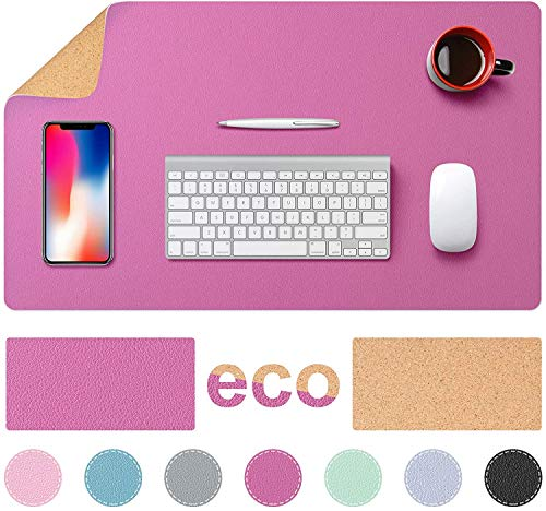 TESOBI Large Natural Cork & Leather Desk Pad, 24' x 14' Double-Sided Desk Protector, Smooth Surface Mouse Pad, Waterproof Desk Mat for Office/Home/Gaming (Rose Red)