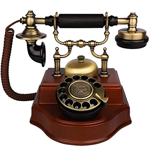 VERDELZ TeléFono Antiguo/TeléFono Retro Europeo De Madera Maciza Giratorio Antiguo Oficina Fija Fija
