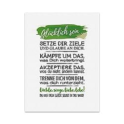 Kunstdruck, Poster mit Spruch – GLÜCKLICH Sein – Typografie-Bild auf hochwertigem Karton - Plakat, Druck, Print, Wandbild