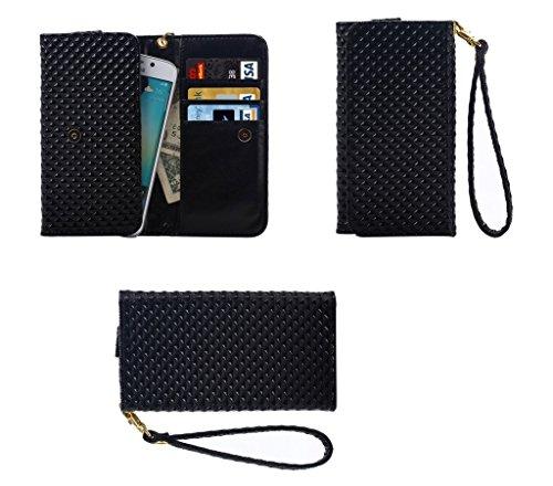 DFVmobile - Etui Tasche Schutzhülle mit Designperle Rasterfeld Gewebe mit Kartenfächer für JiaYu G5 - Schwarz