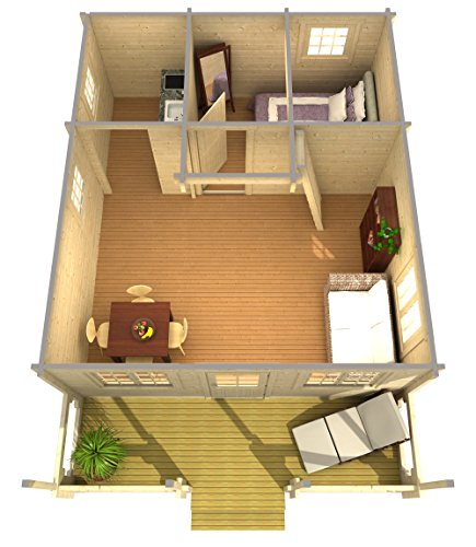 """Allwood timberline   483 sqf cabin kit 9 inside floor area: 354 sqf + loft 129 sqf wall thickness: 2-3/4"""" (70 mm) - dual t&g pattern   ridge height: 14'9"""" snow load capacity 46 lbs/sqf - for 70 lbs/sqf and 96 lbs/sqf values see asin:b07ty5msy8"""