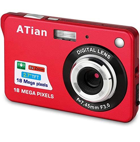 ATian Digitales Cámaras 2.7 Pulgadas LCD 8X Zoom Digital Anti-vibración Recargable HD Cámara Digital para Estudiantes/Adultos Mayores/niños (Rojo)