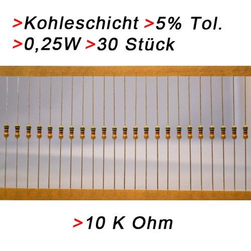 Widerstand 10 K Ohm, 30 Stück, Kohleschicht 0.25W 5% Widerstände Resistor