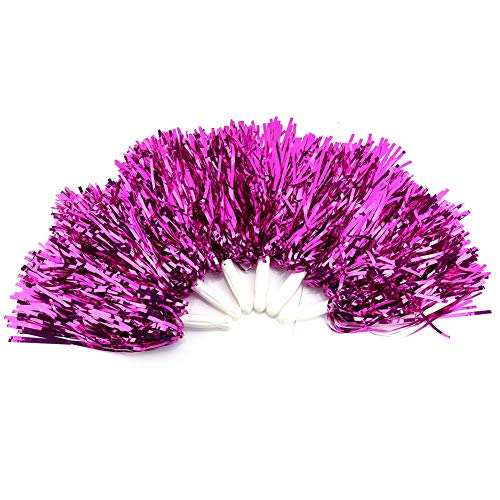 VGEBY1 Leichte Cheerleading Pom Poms, Handblumen Cheerleader Pompons für Sport Cheers Ball Dance Fancy Dress Night Party(Rosenrot)