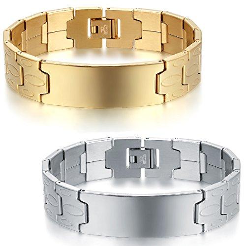 JewelryWe Schmuck 2pcs Herren Armband, Charm 16MM große Breite Glänzend Poliert Link Armreif Armkette, Edelstahl, Gold Silber, mit kostenlos Gravur