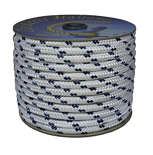 Corderie Italiane 6000501-00 Braid Nautica, 10 Mm-020 Mt, Blanco Con Etiqueta De Plástico Azul, color: Blanco con azul Marcador