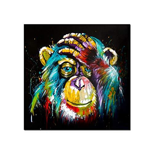 EBONP Décoration Peinture Affiche Tableau décoratif Pensée colorée Singe Mur Art Toile Peinture Animaux Sauvages Pop Art Affiches Peintures Mur Décoratif Photos pour Chambre-40x40cm(16x16inch)