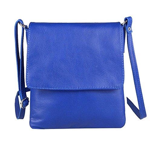 Made Italy ital. Kleine Schultertasche Schmucktasche Crossover iPad Mini Tablet 7'' Leder Tasche Umhängetasche Vera Pelle Hand Ovye 18x22 cm (BxH) (KönigsBlau)
