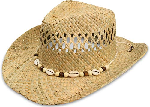 normani Cowboy Strohhut aus 100% natürlichem Stroh Farbe Seashell Größe 59-61