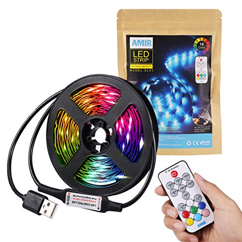 Criacr Tiras LED 5050 RGB, 2.5M 75 LED TV LED Retroiluminación, 18 Colores, 21 Modos de Iluminación, Control Remoto, Tiras de Luces LED para HDTV, Monitor de PC, TV de Pantalla Plana
