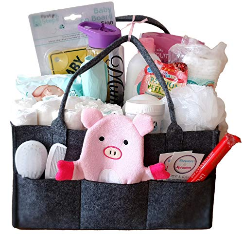 New Born Baby and Mum Hamper in Nappy Caddy Organiser Pink. Baby Girl Essentials and Treats for Mum Gift Set. Pregnancy, Maternity, Expectant Parent Gift