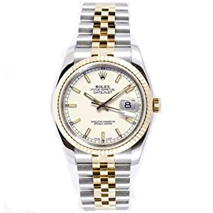 Rolex Mens New Style Heavy Band Stainless Steel & 18K Gold Datejust Model 116233 Jubilee Band Fluted Bezel White Stick Dial image