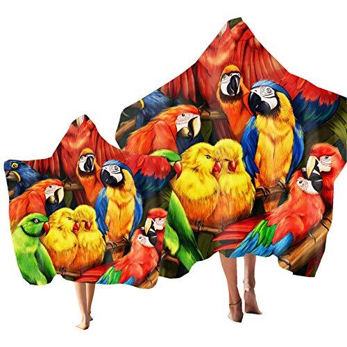 Toalla de Playa Plantas Tropicales Microfibra Toalla Tucán Cebra Impresión Toalla de Baño con Capuch Poncho para Deportes, Viajes, Natación, Baño Niño Adulto (Color 1, Adulto: 150 × 200 cm)
