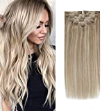 Sunny Blonde Highlights Clip in Hair Extensions 22 inch Double Weft Human Hair Clip on Golden Blonde Mix Medium Blonde Clip Hair Extensions Long Soft 120g