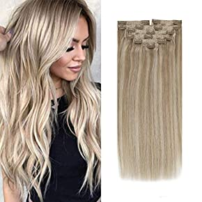 Sunny Clip in Hair Extensions Human Hair Full Head 14-24inch Balayage Ombre Silk Straight Real Hair Clip in Extensions Double Weft Blonde Clip in Human Hair 7pcs 120g