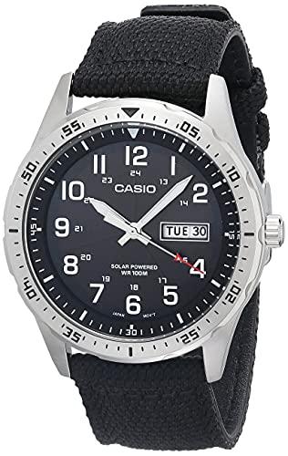 Casio Men's Stainless Steel Quartz Cloth Strap, Black, 22 Casual Watch (Model: MTP-S120L-1AVCF)