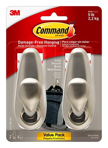 Command Large Forever Classic Metal Hook, Brushed Nickel, 2-Hooks, 4-Strips, Decorate Damage-Free