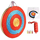 ALANGDUO 3 Layers 20 inch Archery Target Traditional Solid Straw Round Archery Target 2.3 inch Thickness Hand-Made Arrows Target for Outdoor Shooting Practice with 4 Paper Target Face