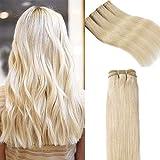 Elailite Extensiones Pelo Natural Cortina Cabello Humano Brasileño 100% Remy Liso Brazilain Human Hair Bundles sin Clip 55cm 100g #60 Rubio Platino