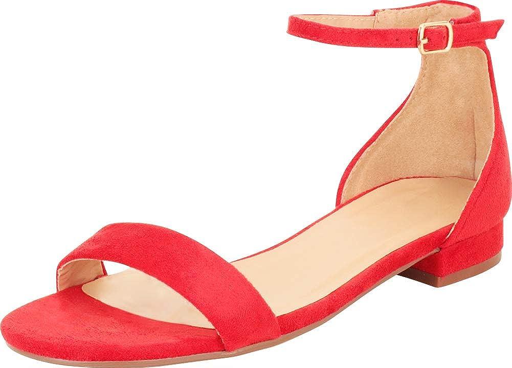 Cambridge Select Women's Single Band Buckled Ankle Strap Low Block Heel Sandal