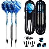 Sanfeng Dardos con punta de plástico de 18 g para diana electrónica, juego de 3 dardos de 16 g, ejes de aluminio azul, 50 puntas, 50 anillos de goma antipérdidas