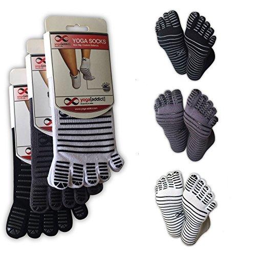 Full Toe Socks with Grips, 5 Finger Socks, Yoga, Pilates, Barre, Dance, Anti Non Slip Skid, Slip Free, for Women & Men, Size L/XL, 3 Pairs - White, Grey, Black