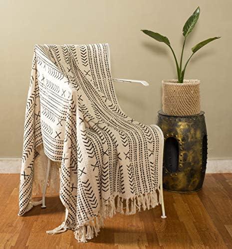 Handicraft Palace Hand Block Cotton Home Decorative Sofa Bed Tassel Throw Cotton Blanket Throw product image