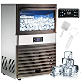 Nurxiovo Commercial Ice Maker Machine, 132lbs/24H Stainless Steel Free-Standing Ice Machine Maker with 40LBS...