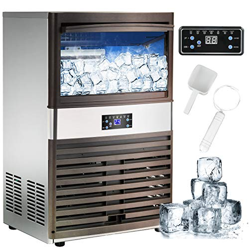 Nurxiovo Commercial Ice Maker Machine, 132lbs/24H Stainless Steel Free-Standing Ice Machine Maker with 40LBS Bin, Air Cooling Ice Cube Machine Ideal for Party, Office, Coffee Shop, Bar,110V
