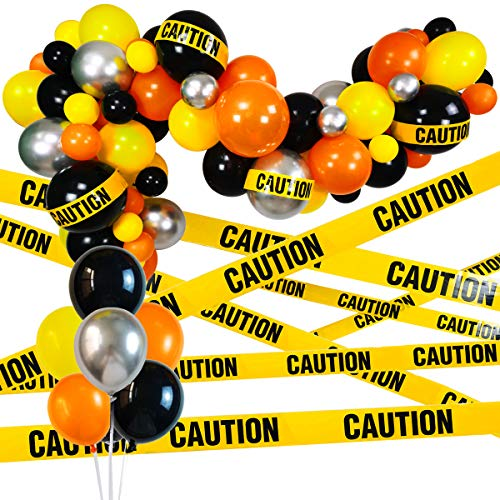 Quarantine Balloon Garland & Arch Kit, 74 Pack 12Inch 5Inch Black, Orange, Yellow, Silver Latex Balloons Strip Set with Caution Tape for Quarantine Birthday Party Decorations Construction Thanksgiving Day Party Supplies