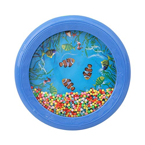 YiHan Ocean Wave Bead Drum, Gentle Sea Sound Musical Teaching Learning Preschool Educational Toy Baby Tambourine, Best Gift for Kids Child Baby for Christmas